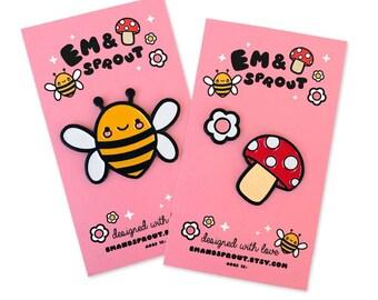 Kawaii Bee, Mushroom, and Flower Enamel Pin Set