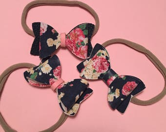 Floral faux leather bow headband or clip (newborn to toddler)