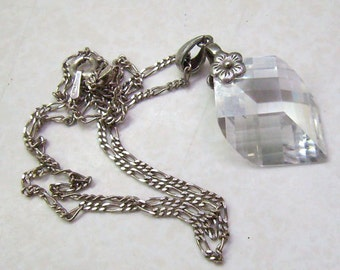 Vintage Sterling Silver Crystal Pendant/Necklace...Faceted Briolette Crystal Pendant...Sterling MJI Italy Chain