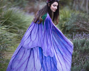 Flower cape floral cloak Violet Petunia scarf shawl purple lavender poncho convertible skirt