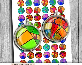 """Color """"Abstract Circles"""" 1 inch, 20mm 25 mm for Bottlecap images Pendant images Digital Collage Sheet Instant Download"""