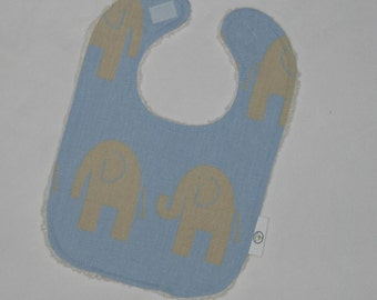 Fun Blue and Tan Elephants and Chenille Boutique Bib