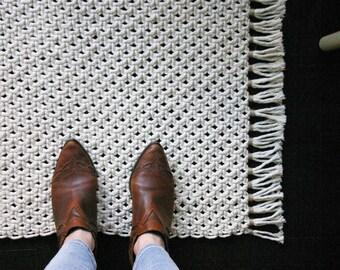 Hand knotted rug //  Macrame rug // Boho // Minimal // Cotton