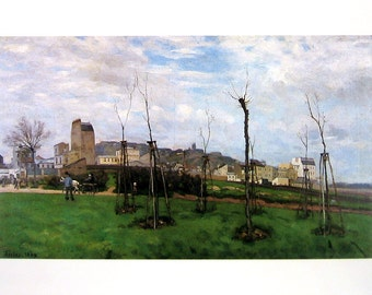 View of Montmarte from the Cite des Fleurs - Alfred Sisley - Fine Art Print - Reproduction Print form 1979 Vintage Book - 12 x 9