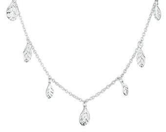 "18"" necklace silver necklace, flower petals"