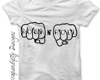 Rock and Roll Iron on Shirt PDF - Rock Iron on Transfer / DIY Mens Rock n Roll Shirt / Girls Rock Shirt / Kids Boys Clothing Tshirt IT185