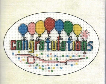 Congratulations Cross Stitch Card Kit from Heritage Craft on 14 ct Aida, Counted Cross Stitch, card kit