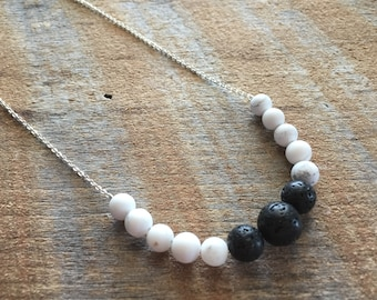 White Howlite Lava Stone Sterling Silver Necklace, Aromatherapy jewelry, Diffuser Necklace, Essential Oil Jewelry, Yoga Necklace, Healing