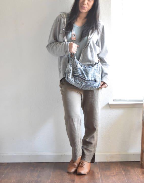 blue jean over the shoulder boho purse / bag