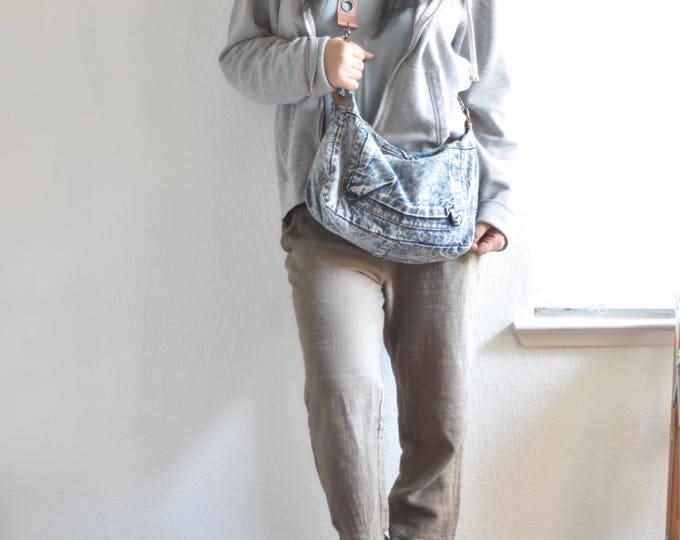 blue jean over the shoulder boho purse / bag