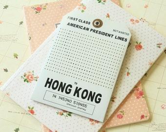 HONGKONG Light Grey large DIY Cross Stitch Message Luggage Tag