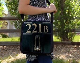 "SHERLOCK  ""221b Door""  Large Messenger / Shoulder Bag"