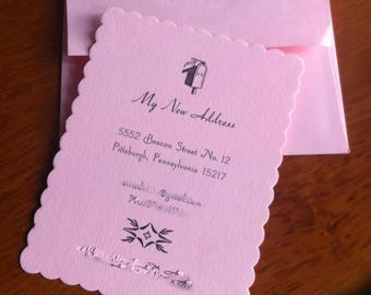 Letterpress Change of Address Card with Personalized Envelope (Set of 20)