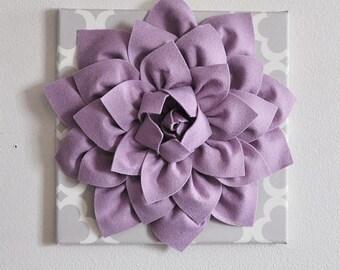 "Wall Flowers -Lilac Dahlia on Neutral Gray Tarika Print 12 x12"" Canvas Wall Art- Baby Nursery Wall Decor-"