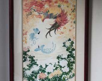 Vintage Silk Print by Wei Tseng Yang, Dance of Autumn 1982, Signed, Framed with Certificate of Authenticity, Textile Art