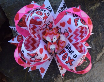 Valentine's Day Fox Boutique Resin Hairbow