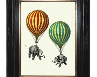 Elephants Art Print Hot Air Balloons Victorian Steampunk Natural History Art Print Surrealism