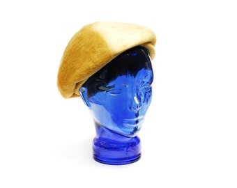 Vintage beret cap mustard yellow fur angora fascinator, extraordinary small sized flat cap, 1950s accessory