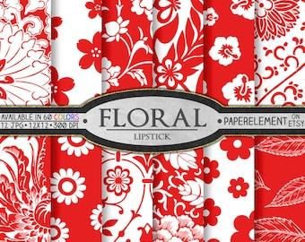 Lipstick Red Scrapbook Paper: Red Floral Digital Patterns & Printable Flower Backdrops - Instant Download