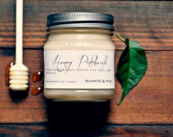 Honey Patchouli Mason Jar Soy Candle