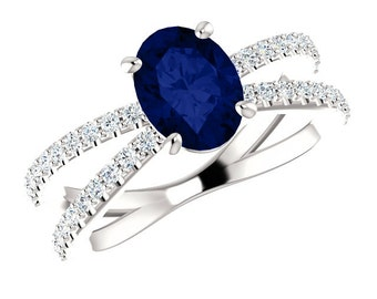 8x6mm Oval Blue Sapphire & Diamond Criss-Cross Engagement Ring 14k 18k or Platinum Double Band Sapphire Rings for Women September Birthstone
