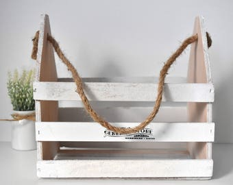 Rustic-Shabby Wood + Twine Rope Basket/Holder/Tray in Chalky-White