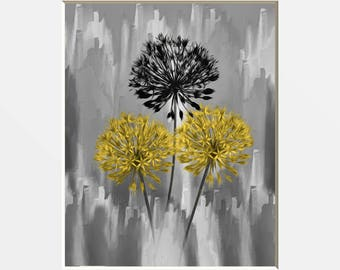 Yellow Gray Modern Floral Wall Art, Yellow Gray Home Decor, Yellow Bedroom Decor, Bathroom Yellow Decor, Modern Yellow Gray Decor