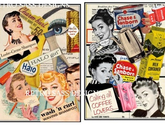 2 5x7 RETRO inspired digital collage ART print retro beauty and retro coffee ad collages