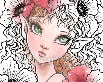 Digital Stamp - Poppy Elf - digistamp - Big Eye - Flowers - Instant Download - Fantasy Line Art for Cards & Crafts by Mitzi Sato-Wiuff