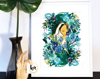 Girl Amongst the Flowers, Illustration, Botanical, Print, Handpainted, female
