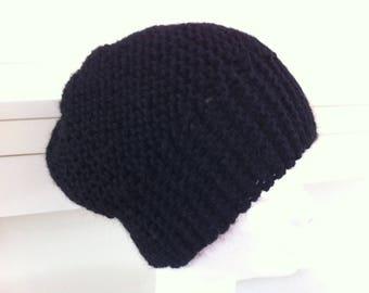 Black alpaca wool hat