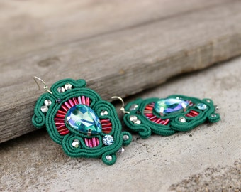 Dark green earrings Soutache earrings with crystal earrings drop Green dangle earrings Mothers day gift idea for sister Bling Grüne Ohrringe