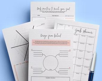 Goal Planner, Goal Tracker, Printable Planner, Instant Download, Planner Insert, Success Planner, PDF, Digital Download, A4 ,A5 ,US Letter