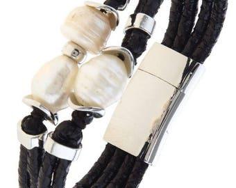 Freshwater Pearl Trio Band Magnetic Bracelet Black