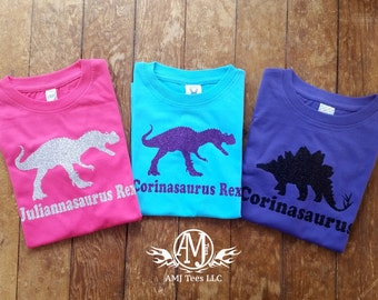 Personalized girl dinosaur shirt, sparkly glitter dinosaur shirt for girls, girls fitted dinosaur birthday shirt,
