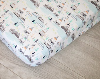 Changing Pad Cover | Aqua and Gray Teepees