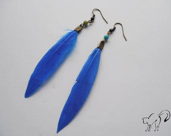 DESTASH earrings bronze feather and Pearl blue