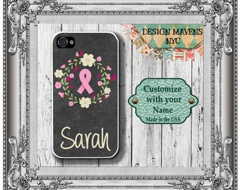 Pink Ribbon iPhone Case, Floral iPhone, Personalized Cancer Awareness iPhone Case, iPhone 4, 4s, iPhone 5, 5s, 5c, iPhone 6, 6s, 6 Plus, SE