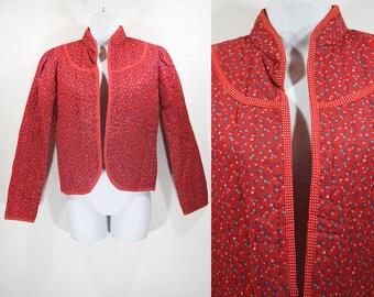 Vintage 80's YOU BABES Red Floral Jacket M