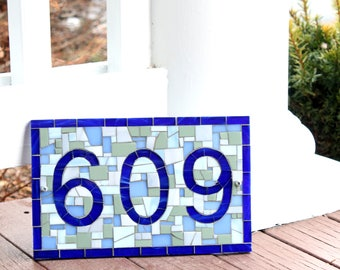 Outdoor House Number Plaque in Blue and Grey Mosaic Tile