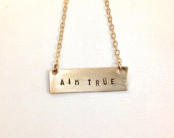 Aim True Necklace, Gold Bar, Mantra Necklace, Affirmation Necklace, Kathryn Budig