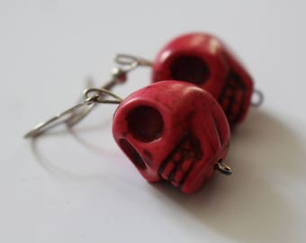 Hot pink gothic skull earrings