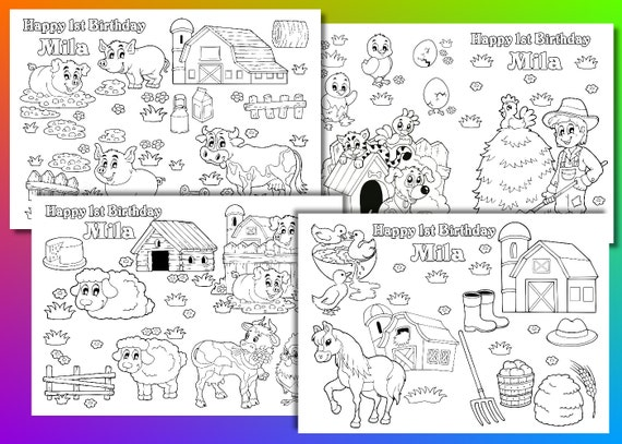 Nutztiere Färbung Seiten Bauernhof Tiere Partyüberraschung