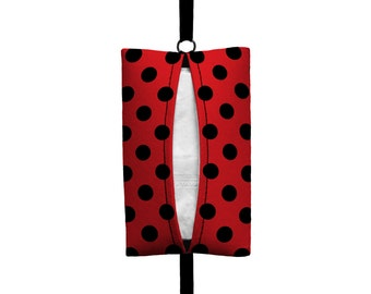 Auto Sneeze - Mini Polka Dot - Visor Tissue Case/Cozy - Car Accessory Automobile Polkadot Red Black Ladybug Lady Bug