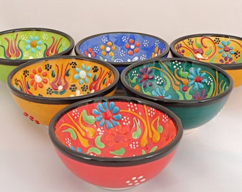 Handmade Turkish Ottoman Ceramic Colourful 6 Pieces Nut Bowls 8cm Diameters