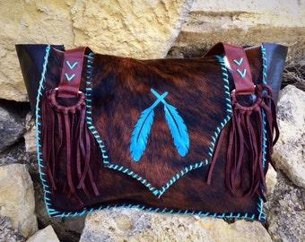 Western Cowboy cowhide fringe diaper bag or large purse