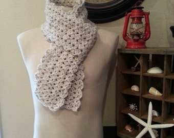 Oatmeal Crocheted Scarf / Lacy Crocheted Off-White Cream Scarf with Earth-toned fleck / Handmade to Order / Handcrafted Crocheted Scarf