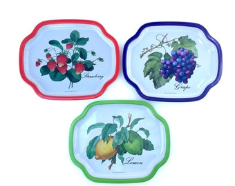 SALE Retro/Vintage 1980s - 80s - Fruit metal serving trays/plates - Lemon, Strawberry, Grape, Green, Red, Purple