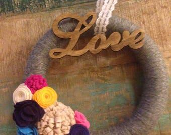 Valentines love and flower wreath