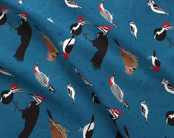 Pileated Woodpecker Fabric - North American Woodpeckers Blue By Dancingbirdstudio - Birds Cotton Fabric by the Yard With Spoonflower